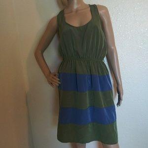 Charming Charlie Olive Blue Strioed Dress